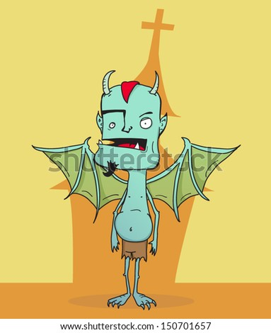 Cartoon bat winged gargoyle standing in front of church  - stock vector