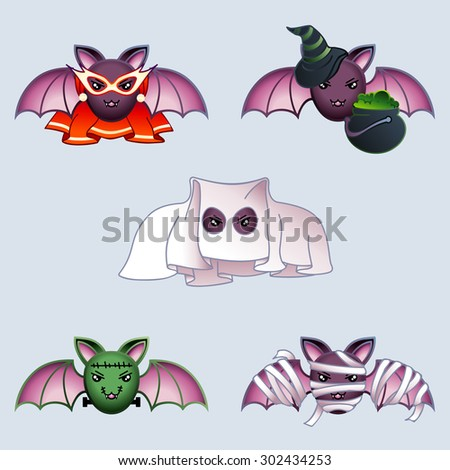 Cartoon bats in Halloween costumes (eps10); - stock vector