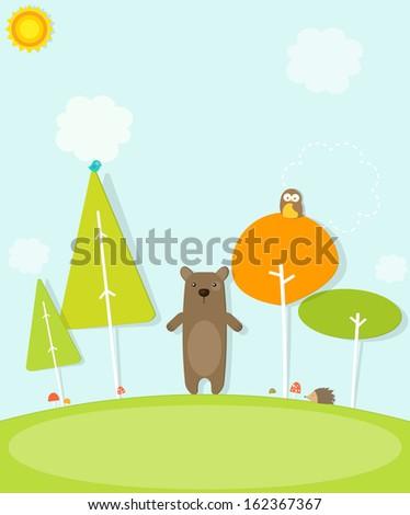 cartoon bear in the forest - stock vector