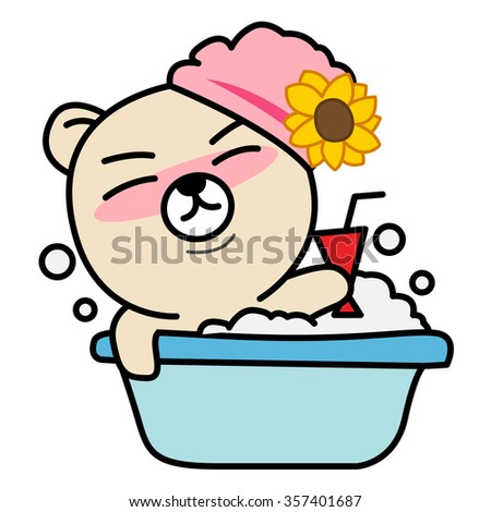Cartoon bear takes a bath - stock vector