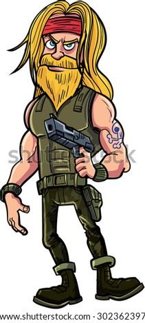 Cartoon bearded thug with gun. Isolated on white - stock vector