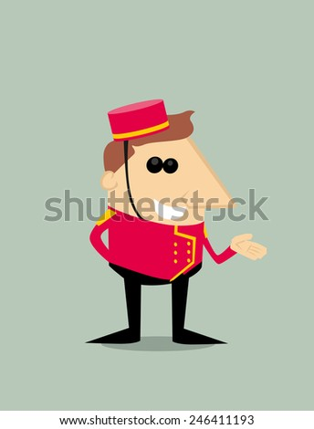 Cartoon bellboy - stock vector