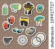cartoon bicycle equipment stickers - stock vector