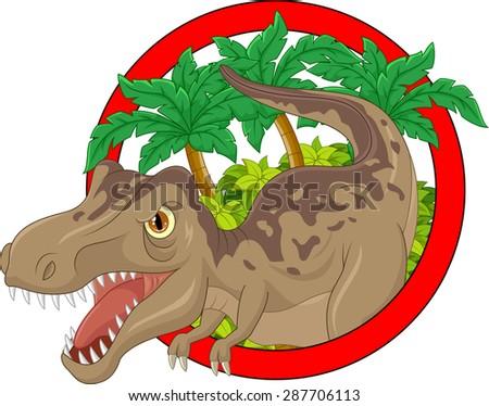 Cartoon big dinosaur illustration  - stock vector
