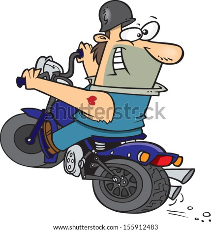 Cartoon biker man driving his motorbike - stock vector