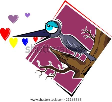 cartoon bird dreaming love - stock vector