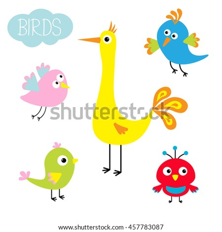 Cartoon bird set. Cute character. Funny collection for kids. Flat design. Baby illustration. Vector illustration - stock vector