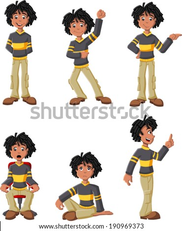 Cartoon black boy on different poses - stock vector