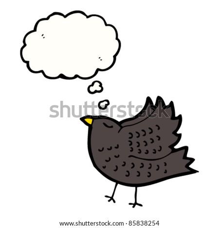 cartoon blackbird with thought bubble - stock vector