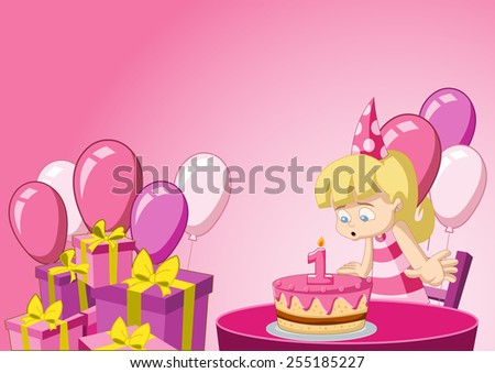Cartoon blonde girl having fun at birthday party - stock vector