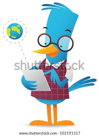 Cartoon Blue Bird browsing using tablet - stock vector