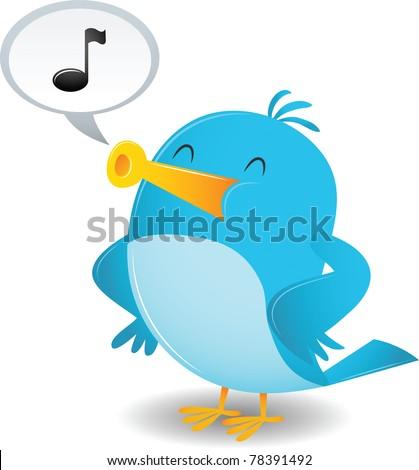 Cartoon Blue Bird Sing - stock vector