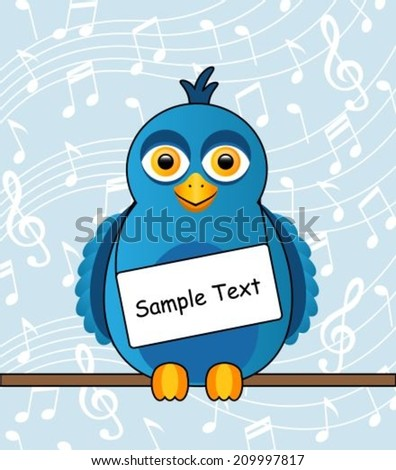 Cartoon blue bird with a sign around his neck  - stock vector