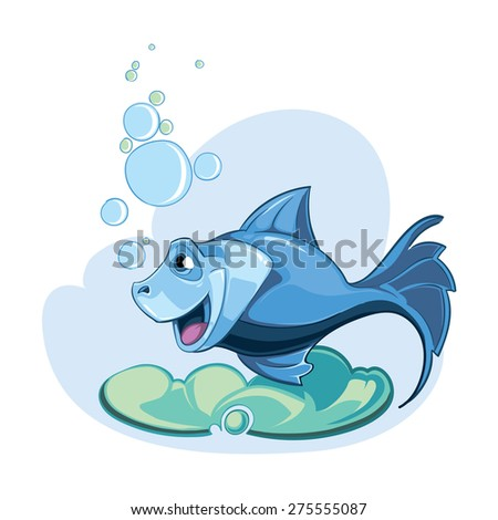 cartoon blue fish isolate on white background - stock vector