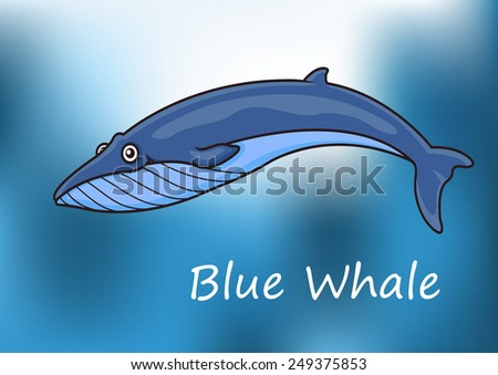 Cartoon blue whale swimming underwater with dappled sunlight and the text Blue Whale below - stock vector