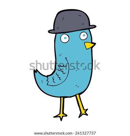 cartoon bluebird wearing hat - stock vector