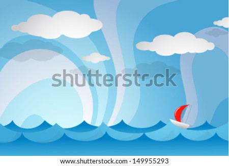 Cartoon boat in open sea. EPS-10 - stock vector