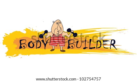 Cartoon bodybuilder on designed background - stock vector
