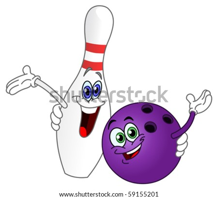 Cartoon bowling ball and pin - stock vector