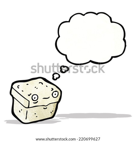 cartoon box with thought bubble - stock vector