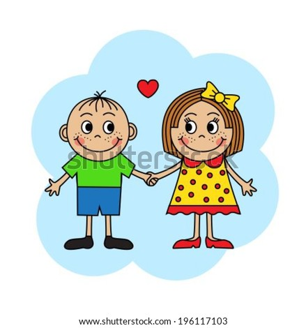 Cartoon boy and girl in love holding hands  - stock vector
