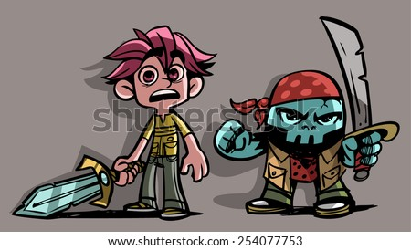 Cartoon Boy and Skull Character with swords - stock vector