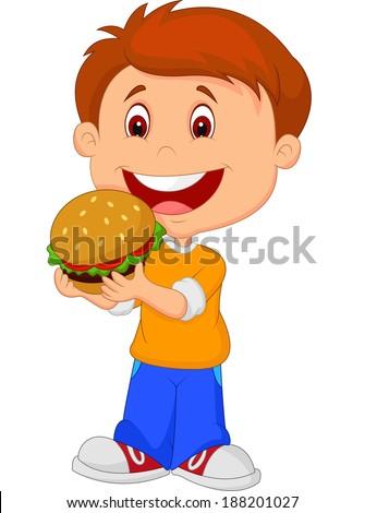 Cartoon boy eating burger - stock vector