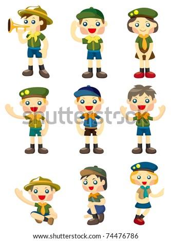 cartoon boy/girl scout icon - stock vector