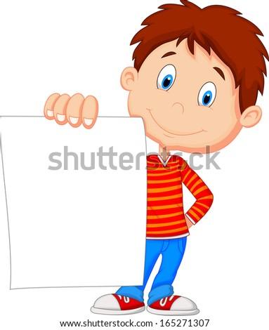 Cartoon boy holding blank paper - stock vector