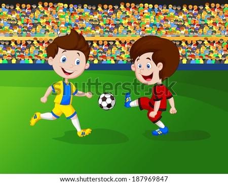 Cartoon boy playing football - stock vector