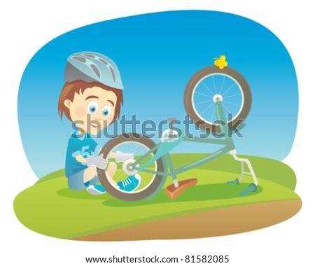Cartoon boy repair his bicycle - stock vector