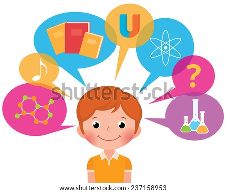 Cartoon boy student different sciences/Child learns/Vector illustration in EPS 8 does not contain transparency - stock vector