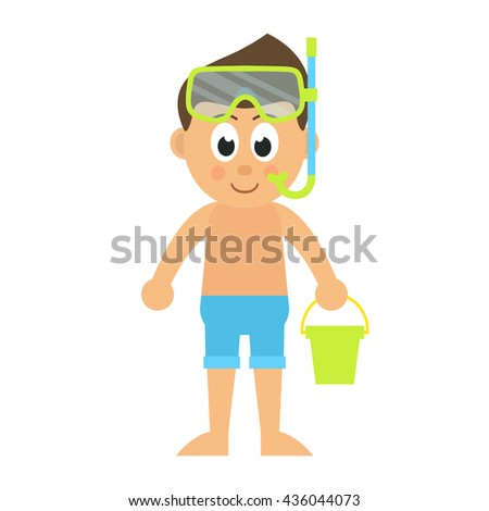 cartoon boy with bucket and diving mask - stock vector