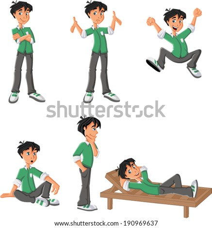 Cartoon boy with green shirt on different poses - stock vector