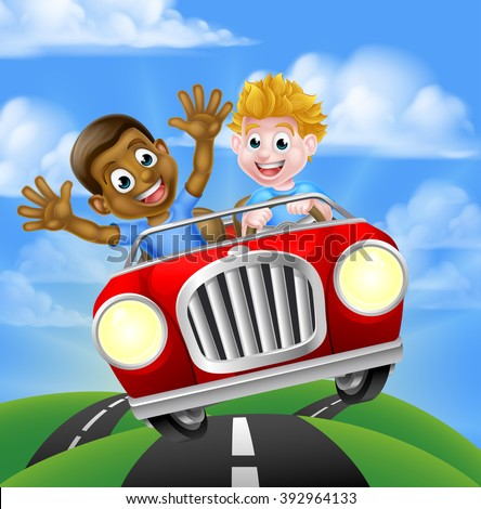 Cartoon boys, one black one white, having fun driving fast in a car on a road trip - stock vector