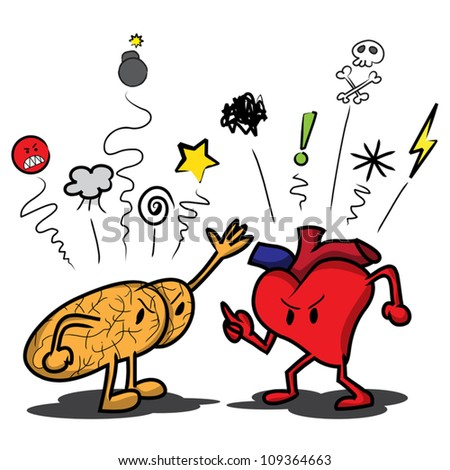 Cartoon brain and heart arguing and saying swear symbols at each other. - stock vector