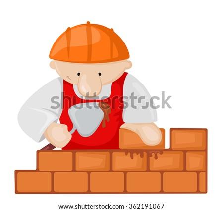 Cartoon bricklayer with trowel. Vector illustration - stock vector