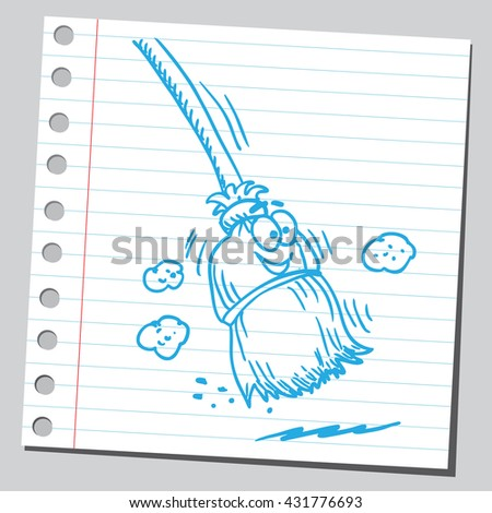 Cartoon broom - stock vector
