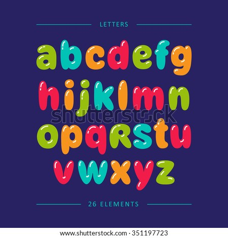 Cartoon bubble font. Colorful lowercase letters with glint - stock vector