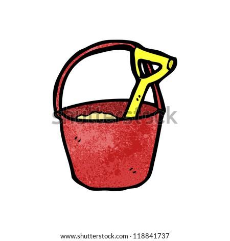 cartoon bucket and spade - stock vector