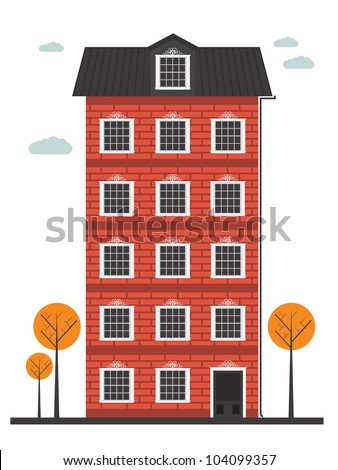 cartoon building - stock vector