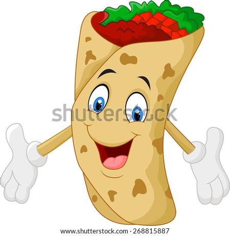 Cartoon burrito - stock vector