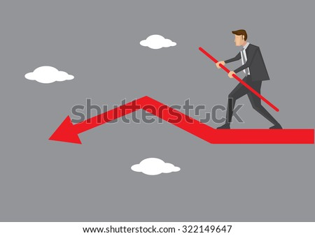 Cartoon business executive character doing sky walking and balancing carefully on declining red arrow. Creative vector illustration on business risk and balancing act concept. - stock vector