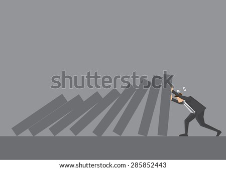 Cartoon business executive pushing hard against falling deck of domino tiles. Creative vector illustration for concept on determination and resilience isolated on grey background. - stock vector