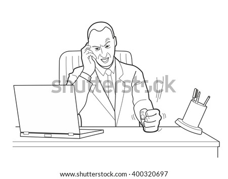 Cartoon business man angry with laptop computer stress fail. Pounding his fist on the table. Black vector illustration isolated on white background.  - stock vector