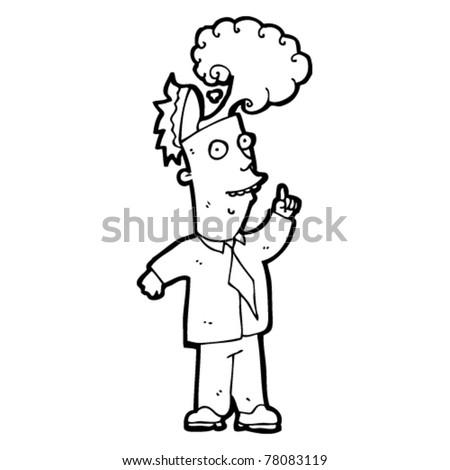 cartoon business man with idea - stock vector
