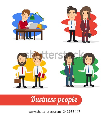 Cartoon business people talking together in corporate or partnership concept. Simple design, isolated on white . - stock vector