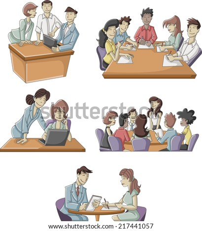 Cartoon business people working on office  - stock vector