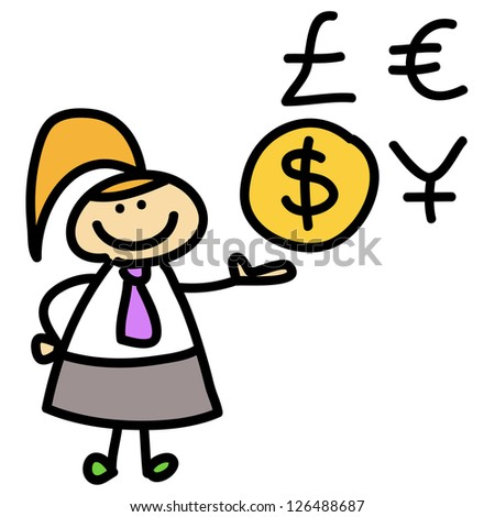 cartoon business woman hand-drawn for design - stock vector