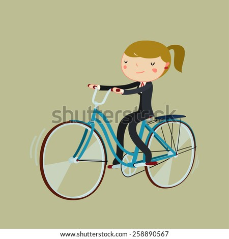 cartoon  business woman riding bicycle. office worker bike to work. vector illustration - stock vector